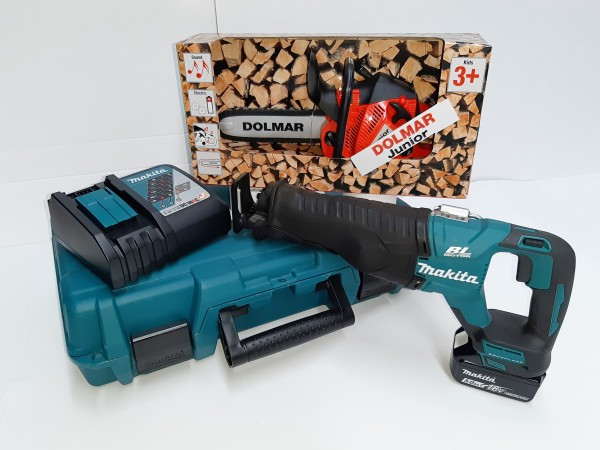 Makita Akku-Reciprosäge DJR187RT 18,0V / 5,0 Ah + Gratis Spielzeug Kettensäge mit Sound
